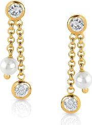 Nomination , Bella Gold Plated Cubic Zirconia Pearl Earrings 142644029