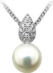 Number 39 , Ladies Sterling Silver Cubic Zirconia Pearl Drop Necklace P5049fpcz