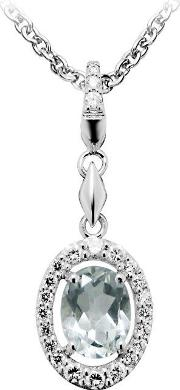 Number 39 , Ladies Sterling Silver Green And Clear Cubic Zirconia Necklace P5054gac