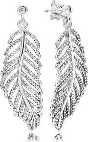 Pandora , Silver Shimmering Feather Studs Earrings 290584cz
