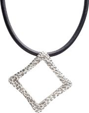 Pasha , Silver Plated Open Square Black Cord Necklet H1018annabelle1