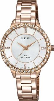 Pulsar , Ladies Rose Gold Plated Bracelet Watch Ph8220x1