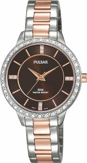 Pulsar , Ladies Two Tone Stone Set Bracelet Watch Ph8217x1