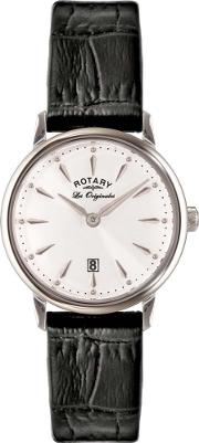 Rotary , Ladies Black Leather Strap Watch Ls9005002