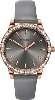 Sekonda , Ladies Editions Rose Gold-plated Grey Strap Watch 2454
