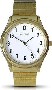 Sekonda , Mens Gold Plated Bracelet Watch 3752