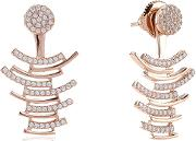 Sif Jakobs , Ladies Rose Gold-plated 'fucino' White Cubic Zirconia Ear Jackets Sj-e0696-cz(rg)