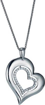 The Real Effect , Silver Large Cubic Zirconia Heart Pendant Re26694