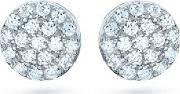 The Real Effect , Silver Round Pave Stud Earrings Re22054