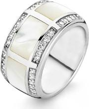 Ti Sento , Silver Mother Of Pearl Cubic Zirconia Chunky Band 1346mw56