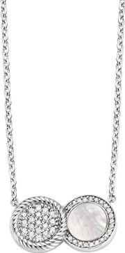 Ti Sento , Silver Overlaid Mother Of Pearl And Pave Disc Necklace 3881mw42