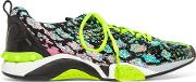Ash , Leather Paneled Stretch Knit Sneakers Multi
