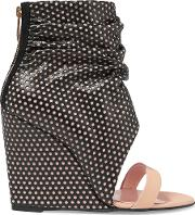 Jerome Dreyfuss , Ella Cale Perforated Leather Wedge Sandals Black