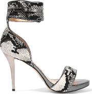 Lucy Choi London , Thesus Snake Effect Calf Hair Sandals Chocolate