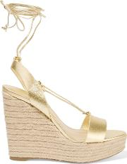 Michael Kors Collection , Clive Metallic Leather Wedge Sandals Gold