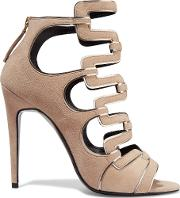 Pierre Hardy , Metallic Trimmed Cutout Suede Sandals Beige