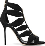 Sergio Rossi , Embellished Cutout Suede Sandals Black