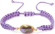 Dara Ettinger , Cord, Gold Plated And Stone Bracelet Lavender