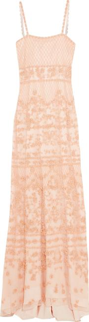 Mikael Aghal , Beaded Mesh Gown Peach