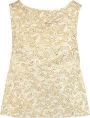 Rochas , Bow Embellished Brocade Top Gold