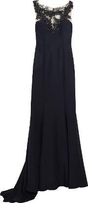 Mikael Aghal , Embellished Satin Twill Gown Midnight Blue