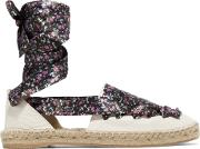 Iris And Ink , Floral Print Lace Up Textured Leather Espadrilles Off White