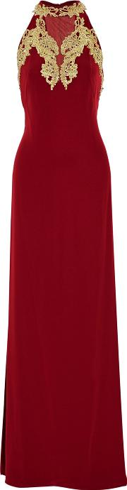 Mikael Aghal , Embellished Crepe Gown Burgundy