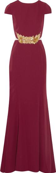 Mikael Aghal , Embellished Tulle Paneled Stretch Cady Gown Burgundy