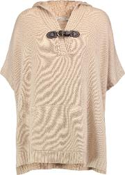 Autumn Cashmere , Knitted Hooded Poncho Neutral