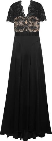 Catherine Deane , Gazelle Guipure Lace And Satin Gown Black