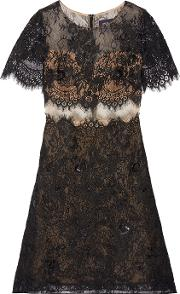 Marchesa Notte , Embellished Lace And Tulle Mini Dress Black