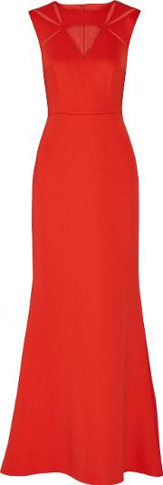 Mikael Aghal , Tulle Paneled Stretch Crepe Gown Red
