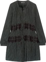 Maiyet , Lace Appliqued Printed Silk Crepe De Chine Mini Dress Dark Green