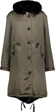 Ainea , Faux Fur Trimmed Satin Hooded Coat Army Green
