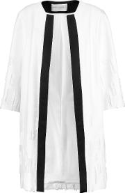 Amanda Wakeley , Satin Trimmed Distressed Crepe Coat White