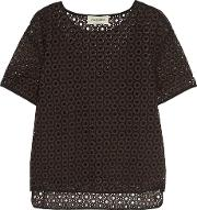 By Malene Birger , Onestian Broderie Anglaise Top Dark Brown