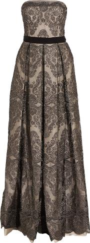 Catherine Deane , Gabriella Pleated Embroidered Tulle Gown Gunmetal