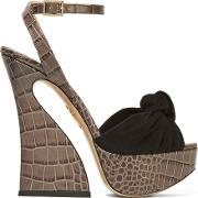 Charlotte Olympia , Vreeland Croc Effect Leather And Suede Platform Sandals Dark Gray