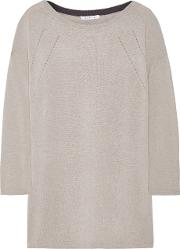 Duffy , Pointelle Trimmed Cashmere Sweater Light Gray