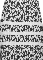 Goen J , Printed Twill And Cotton Skirt White