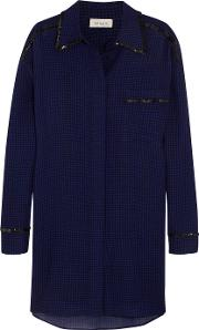 Isa Arfen , Oversized Sequin Trimmed Checked Wool Shirt Dress Royal Blue