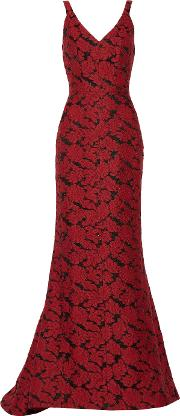 J Mendel , Embroidered Gauze Gown Crimson
