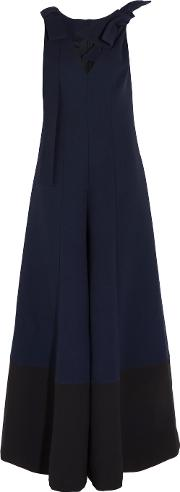 Merchant Archive , Bow Embellished Wool Crepe Jumpsuit Midnight Blue
