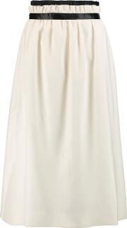 Mother Of Pearl , Eloise Gathered Twill Midi Skirt Ivory