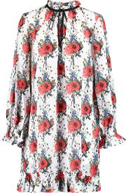 Mother Of Pearl , Lucille Ruffled Floral Print Silk Georgette Mini Dress Red