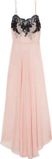 Rosamosario , Classica Bellezza Chantilly Lace Trimmed Silk Georgette Nightdress Blush