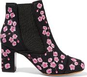 Tabitha Simmons , Micki Blossom Embroidered Canvas Ankle Boots Pink