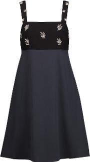 Tanya Taylor , Two Tone Embellished Crepe Mini Dress Midnight Blue
