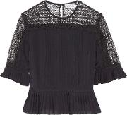 Tanya Taylor , Zohara Pleated Lace Paneled Silk Top Midnight Blue