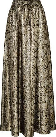 Vanessa Seward , Mira Silk Blend Lame Maxi Skirt Silver